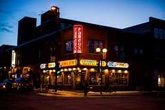 (Famous) smoked meat (vinnie saxon) Tags: street signs night lights restaurant montreal famous meat pizza bluehour resto
