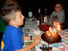 Brothers and a Burning Cake (mikecogh) Tags: birthday candles marcus brothers 10 flame nephews luc findon