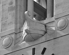 Swansea Guildhall clock tower - detail (B&W) (cmw_1965) Tags: tower clock swansea longboat viking guildhall prow sweyn forkbeard
