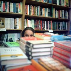 Bookworm (Mason Shefa) Tags: california 120 rollei rolleiflex los kodak mason bookstore 100 feliz 35 schneider kreuznach xenar ektar shefa k4a