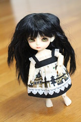 Autumn unleashes her inner Morticia Addams (AluminumDryad) Tags: doll bjd freckles resin suji balljointeddoll latidoll latiyellow wigswap tinybjd eventhead