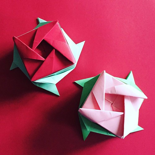 Rose Boxes By Ms Ayako Kawate Folded By Me Using 21cm Squares Of