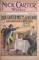 """Nick Carter meets a wizard and shows him a new trick"" in Nick Carter weekly, no. 142 (niudigitallibrary) Tags: murder nickcarter impersonation murderers hypnotists carternick dimenovels popularliterature streetandsmith northernillinoisuniversitydigitallibrary"