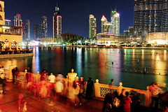 Dubai fountains (mihaipiscureanu) Tags: show street city travel urban lake color water colors architecture night buildings lights long dubai cityscape fuji fujifilm fountains expusure