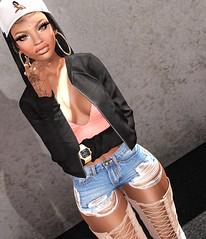 FLI. (K e z m e i :; www.UglyBetti.Tumblr.com) Tags: life urban black cute sexy girl fashion pretty tony sl jacket cap second bomber modal fli tont pixicat uglybetti