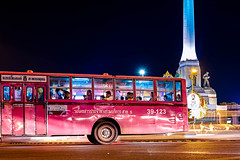 pink bus (Max Peter1) Tags: girls bus thailand fuji nightshot bangkok thai fuj thaigirls bangkokstreet fujixt1
