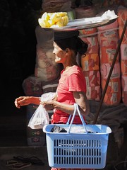 Balancing Act (Feldore) Tags: street food woman fruit basket market head yangon burma traditional olympus myanmar burmese mchugh seller carrying em1 1240mm feldore