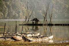 Fisherman's Hut in Distance (choky sinam) Tags: morning trees lake sunrise reflections boat canoe hut fishermanboat