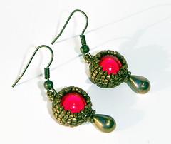 Miracle Red Bronze Earrings Beaded Earrings Dangle Earrings (edelweisshu) Tags: red bronze miracle unique jewelry earrings etsy elegant dangle beaded beadwork edelweisstreasures