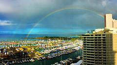 Pano: Today's double rainbow over the Ala Wai Yacht Harbour (peggyhr) Tags: panorama hawaii rainbow waikiki oahu thegalaxy 25faves peggyhr alawaiharbour level1photographyforrecreation thegalaxyhalloffame thelooklevel1red super~sixbronzestage1