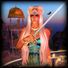 Maharani Scarlett of Kalepa (scarlettelizabet) Tags: tiara hair landscape gold necklace princess hawk teal indian scenic dome bracelet sword mirage crown jewels aisling ra magical powerful royalty kestrel dva maharani kalepa faida davincigardens fginc