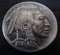 "'The Warrior' Hobo nickel/coin carving • <a style=""font-size:0.8em;"" href=""http://www.flickr.com/photos/72528309@N05/24560050571/"" target=""_blank"">View on Flickr</a>"