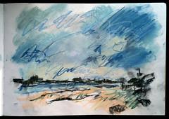 Riverbank at Skeffling, November (johnhumber48) Tags: landscape drawing sketchbook pastels pasteldrawings sketchbookpages