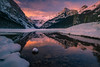lake louise (Donald L.) Tags: winter snow canada mountains reflection landscape nationalpark earlymorning fresh alberta banff lakelouise openwater victoriaglacier