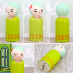 Sleeping beauty peg doll (waltersilvausa) Tags: cute rose actionfigure chartreuse handpainted etsy woodentoys sleepingbeauty woodendoll pegdoll pegdolls waldorftoys moderntrendytoy