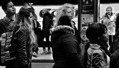 Queue (Owen J Fitzpatrick) Tags: ojf people photography nikon fitzpatrick owen j joe street pavement chasing d3100 ireland editorial use only ojfitzpatrick eire dublin republic city candid tamron social unposed bus stop waiting women woman attractive beauty beautiful info sign stand standing female afro backpack handbag shoulderbag man earring blonde look looking fleece queue male bw black white blackandwhite mono monochrome blackwhite reality realite blancoynegro pretoebranco schwarzundweis  hiybi  hi y bi nigra kaj blanka