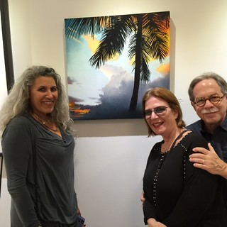 Artist Lisa Remeny with Lois and Elliott Whitman at the Williams McCall gallery in Coconut Grove.