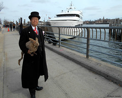 Dr. Takleshi Yamada and Seara (Coney Island sea rabbit) at the harbor in Sheepshead Bay in Brooklyn, NY on March 27, 2016.  20160327SUN  DSCN4794=1015pC1. Sheepshead Bay (searabbits23) Tags: wild ny newyork sexy celebrity rabbit art hat fashion animal brooklyn asian coneyisland japanese star harbor pier tv google king artist dragon god manhattan famous gothic goth uma ufo pop taxidermy vogue cnn tuxedo bikini tophat unitednations cruiseship playboy entertainer oddities genius mermaid amc mardigras salvadordali performer unicorn billclinton seamonster billgates aol vangogh curiosities sideshow jeffkoons globalwarming takashimurakami pablopicasso steampunk damienhirst cryptozoology freakshow seara immortalized takeshiyamada museumofworldwonders roguetaxidermy searabbit barrackobama ladygaga climategate minnesotaassociationofroguetaxidermists  manwithrabbit