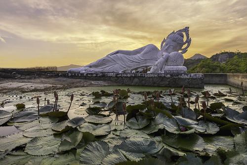 Sleeping Buddha and belfry on sunset at Hua-Hin,Thailand