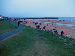 May Dip, 2016 -- photo 2 (Dunnock_D) Tags: uk sea sky cloud green beach swimming scotland pier sand cloudy unitedkingdom fife britain path crowd northsea standrews wading breakwater grasss eastsands maydip