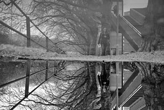 Mirrored #2 (maekke) Tags: bw woman reflection water switzerland noiretblanc pov streetphotography pointofview fujifilm zrich ch 2016 x100t