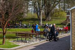 SLN_1602632 (zamon69) Tags: people house tree water bench person stroller human vatten hus trd buidling barnvagn bnk byggnad