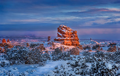 A Winters Tale (BlueberryAsh) Tags: park winter sunset usa snow colour landscape rocks december outdoor national moab archesnationalpark nikon24120 nikond600
