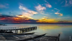 OLIVERS JETTY (Vaughan Laws Photography   www.lawsphotography.com) Tags: ocean longexposure sunset panorama seascape color clouds canon reflections landscape outdoor jetty panoramic ndfilter olivershill neutraldensityfilter longshutterexposure longexposuresunset canon6d longexposurecolour multirowpanoramic nd10stop lawsphotography vaughanlaws