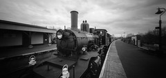 Steam (DanRSmith) Tags: blackandwhite bw monochrome train steam pinhole rodinal kesr wppd ondu fujineopanacros100 kentandeastsussexrailway ondupinhole wppd2016