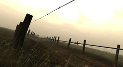 The Road Goes On Forever.... (It Feels Like Rain) Tags: fence fences sl secondlife dirtroad tgif dirtroads barbwire fenceline hff shannoncardalines theroadgoesonforeverbutthepartyneverends