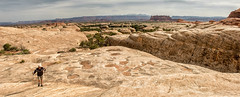 Canyonlands NP hiking Squaw Flats_Panorama9 (maryannenelson) Tags: panorama clouds landscape utah nationalpark spring outdoor hiking canyonlands hiker needles squawflats