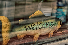 another walmart greeter (annapolis_rose) Tags: fish sing welcome greeting windowsign woodenfish