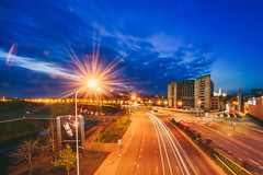 City Lights | Kaunas #118/365 (A. Aleksandraviius) Tags: street city longexposure sunset sky buildings lights nikon traffic after 365 nikkor lithuania kaunas lietuva 2016 project365 365days 1424 d810 118365 nikond810 1424mm 3652016
