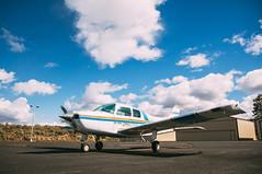 Beechcraft B-19 Sport (jprovencher) Tags: blue sky airplane aviation cumulus beechcraft easternwashington b19 vscofilm grandcouleedamairport