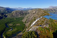 Rago, Norway (umoilanen) Tags: summer cliff mountain nature water norway rock forest landscape waterfall scenery outdoor hiking hill mountainside rockformation