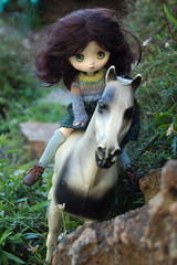 Elodie rides in the mountains (Emily1957) Tags: light toy toys nikon doll dolls naturallight plastic bjd elodie obitsu nikond40 jerryberry cangaway vintagesindyshorse