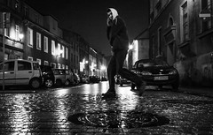 Hello | Day 161 / 365 (marcin baran) Tags: hello road street old people urban man brick cars wet water rain buildings reflections walking person lights town hoodie fuji pov walk candid telephone perspective poland polska stranger spot rainy fujifilm spotted moist hooded gliwice x100 marcinbaran x100t