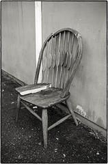 Broken Chair (NoJuan) Tags: blackandwhite bw abandoned blackwhite chair empty neglected digitalbw discarded a7 brokenchair emptychair fdlens sonya7 sonya7withmanualfocuslens