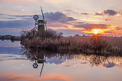 How Hill Norfolk Broads (Geoffrey Tibbenham) Tags: sunset sky reflection windmill clouds river ant norfolk broads