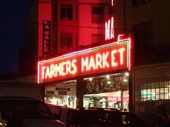 Farmer's Market (incidencematrix) Tags: seattle sign night washington neon market pikes
