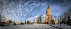 Church of St. Matthew the Apostle in Pabianice - winter (sanzios) Tags: blue winter sky panorama snow church skyline architecture clouds catholic poland hdr pabianice