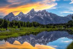 Orangeflection (Ryan Moyer) Tags: sunset sky mountains reflection water clouds wyoming grandtetonnationalpark schwabacherlanding
