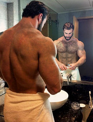 1129 (rrttrrtt555) Tags: hairy water muscles hair beard bathroom mirror arms sink masculine chest ripped towel toothbrush