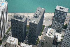 Mies' Apartments on the Lake (See.jay) Tags: urban usa chicago glass vertical horizontal architecture modern buildings site illinois apartment box steel perspective modernism aerialview aerial minimal lakeshoredrive architect esplanade highrise lakeshore miesvanderrohe portal framing van minimalism proportion der ludwig mies minimalist internationalstyle lakefront modernist rohe 880 rationalism orthogonal ludwigmiesvanderrohe 860 clearspan portalframe esplanadeapartmentbuildings