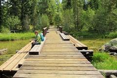 Enjoying the Solitude (Patricia Henschen) Tags: bridge mountains moose jackson wyoming grandtetons tetons preserve naturepreserve grandtetonnationalpark pathscaminhos laurancesrockefellerpreserve