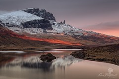 Light Breaks (Dave Brightwell) Tags: red sunlight mountains beautiful sunrise canon reflections photography scotland scenery isleofskye scenic scottish vanguard hoya oldmanofstorr storr lochfada formatthitech