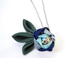 Camellia. New Blue Tsubaki Kanzashi. (Bright Wish Kanzashi) Tags: original flower handmade clip hairpin kanzashi tsumamizaiku