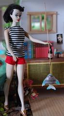 Fishing at Window Lake (Emily1957) Tags: light fish fashion toy toys fishing nikon doll dolls barbie kitlens naturallight mattel nikond40 vintageponytailbarbienumber3