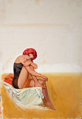 Bait by Jack Faragasso, 1962 (Tom Simpson) Tags: woman sexy illustration vintage painting legs lingerie redhead pulp pinup bait jailbait pulpart jackfaragasso