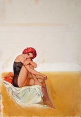 Bait by Jack Faragasso, 1962 (Tom Simpson) Tags: woman sexy illustration vintage painting legs lingerie redhead pulp pinup bait jailbait pulpart jackfaragasso